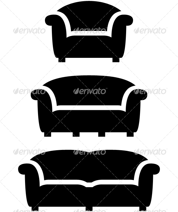 black furniture icon set - Man-made Objects Objects