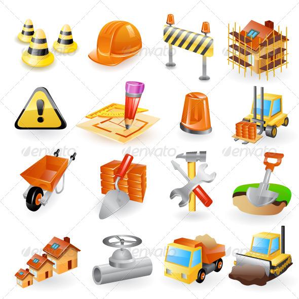 Construction Icon Set - Objects Vectors