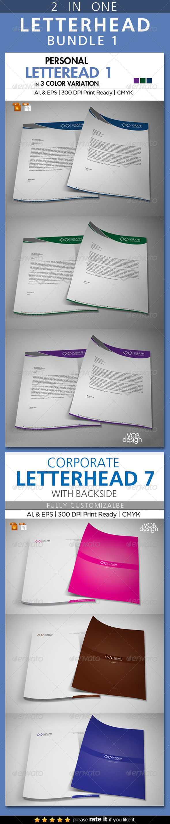 Letterhead Bundle 1 - Stationery Print Templates