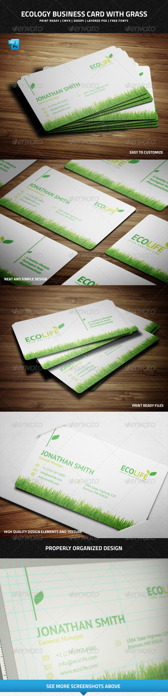 Ecology Business Card with Grass - 31 - Corporate Business Cards