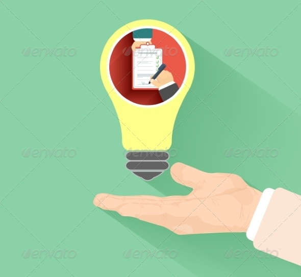 Lightbulb with Hand - Man-made Objects Objects