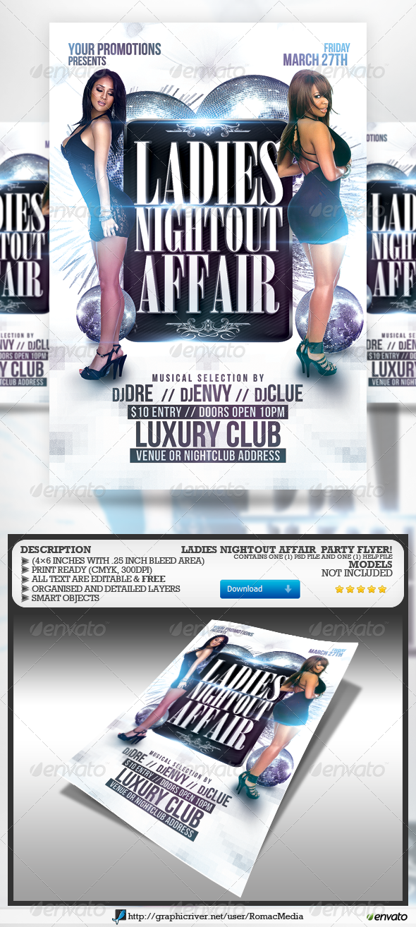 Ladies Nightout Affair Party Flyer - Clubs & Parties Events