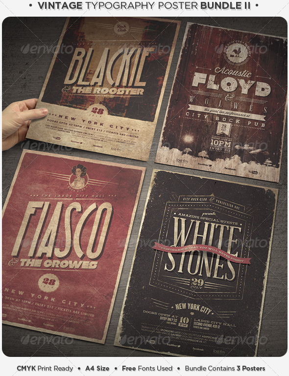 Vintage Typography Poster Bundle II - Concerts Events