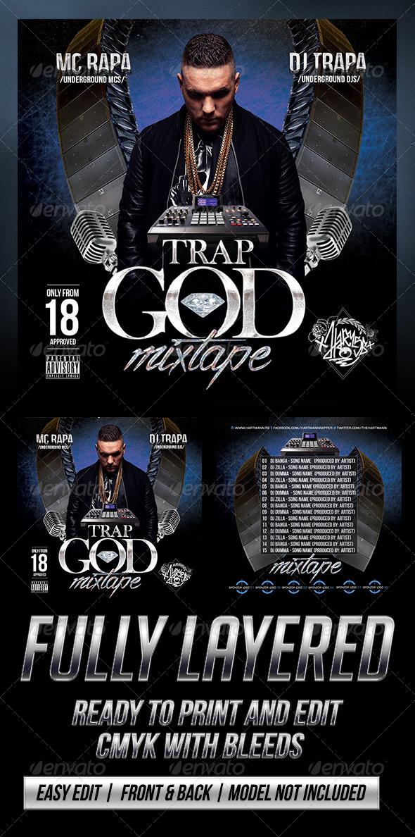 Trap God (Mixtape Cover) - CD & DVD Artwork Print Templates