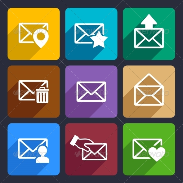 Mail  Flat Icons Set 48 - Web Icons