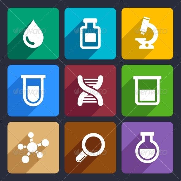 Chemical  Flat Icons Set 49 - Web Icons