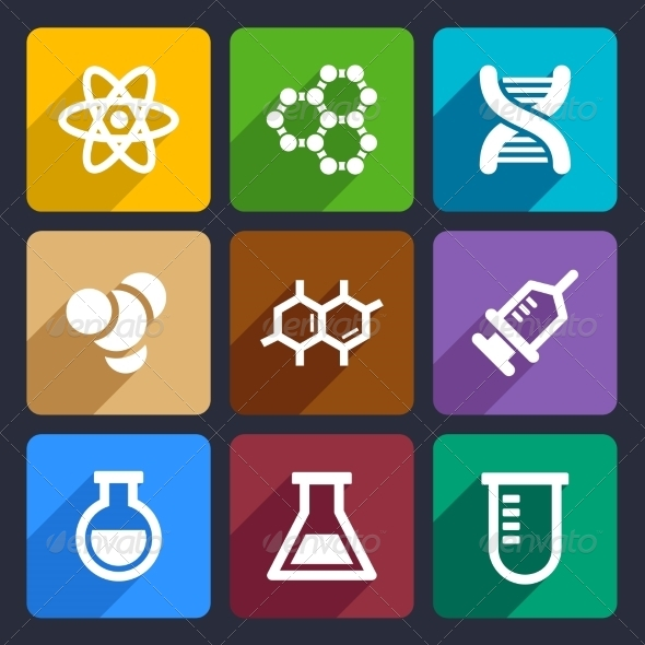 Chemical  Flat Icons Set 50 - Web Icons