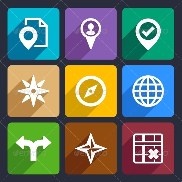 Map, GPS and Navigation  Flat Icons Set 46 - Web Icons