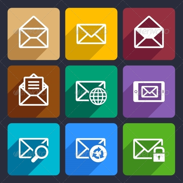 Mail  Flat Icons Set 47 - Web Icons