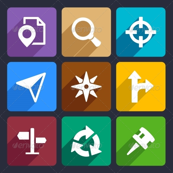 Map, GPS and Navigation  Flat Icons Set 45 - Web Icons
