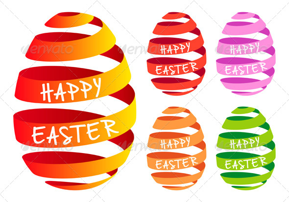 Ribbon Easter Eggs, Vector Set - Seasons/Holidays Conceptual