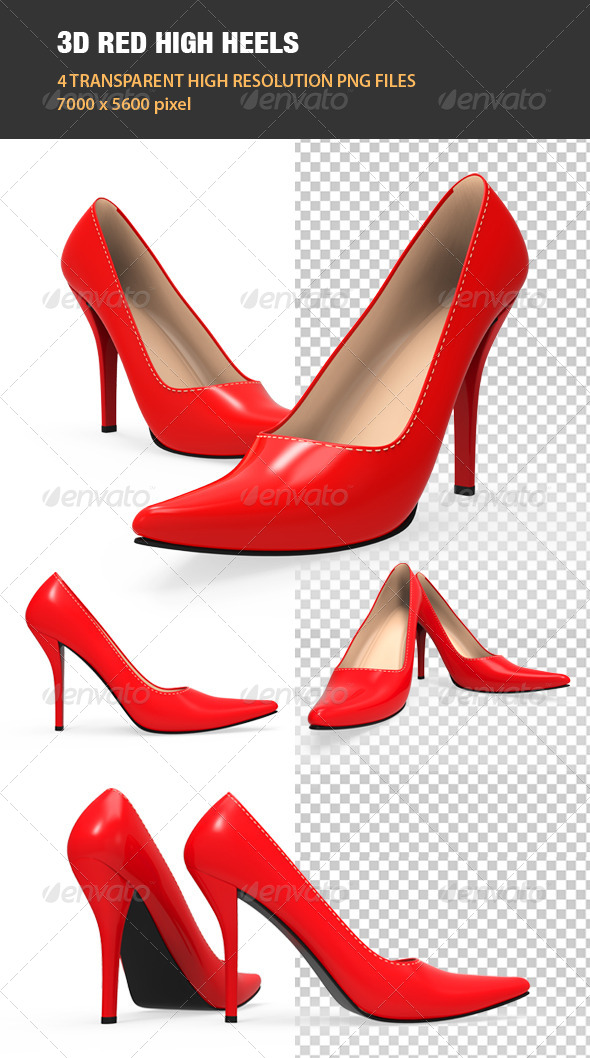 3D Red High Heel Shoes - Objects 3D Renders