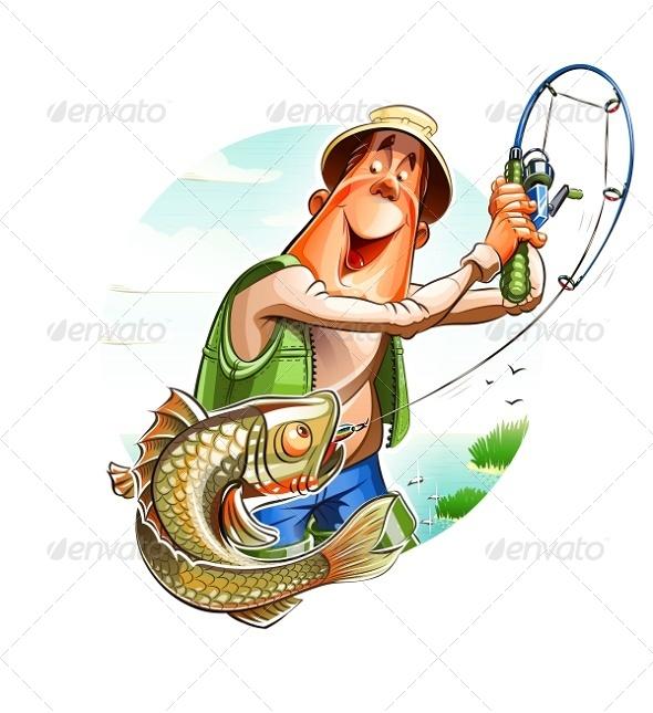 Fisherman And Fish - Animals Characters