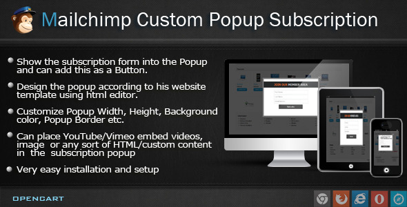 Mailchimp Custom Popup Subscription for OpenCart - CodeCanyon Item for Sale