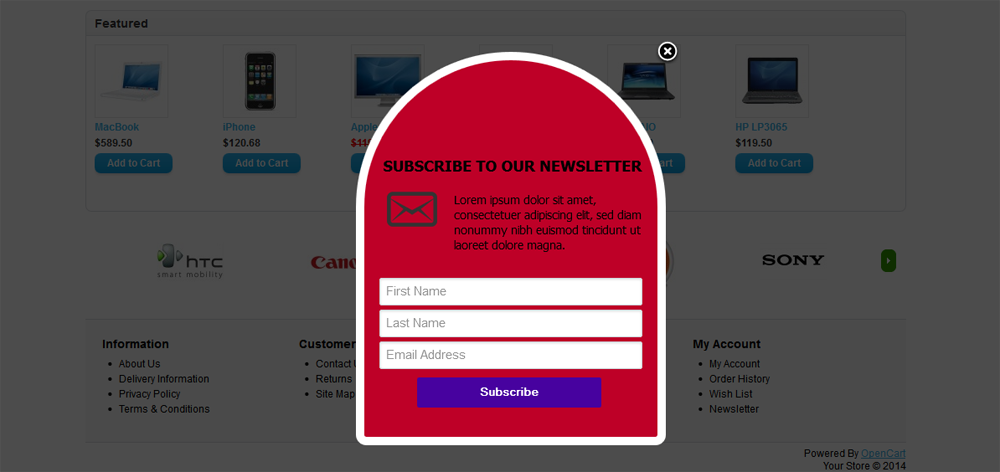 Mailchimp Custom Popup Subscription for OpenCart