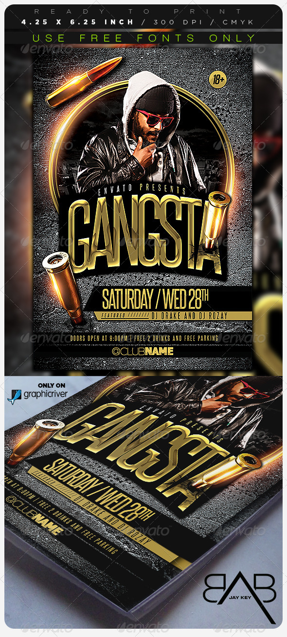 Gangsta Music Party Flyer - Events Flyers