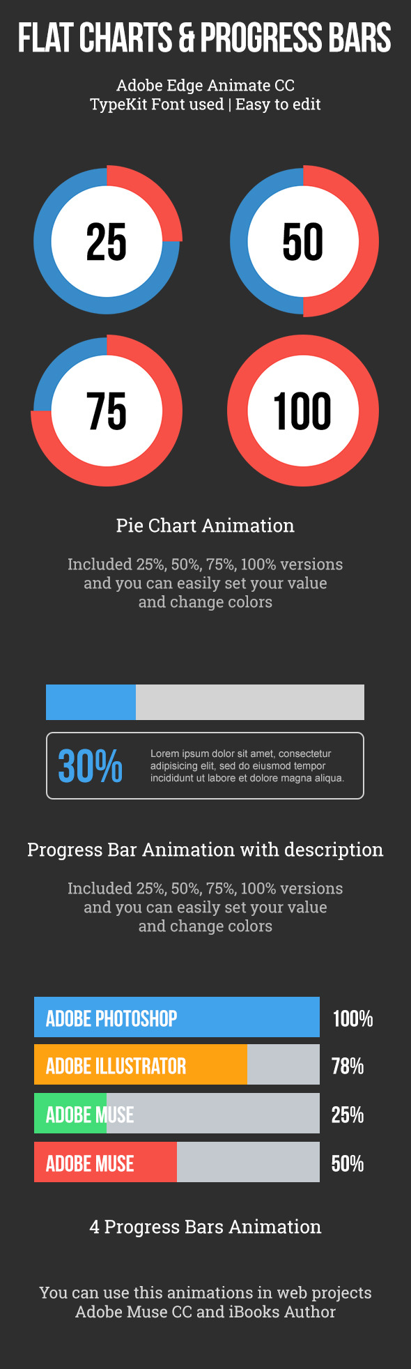 Flat Pie Charts and Progress Bars Templates by vinyljunkie | CodeCanyon