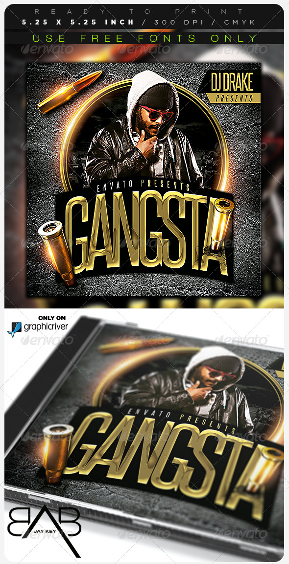 Gangsta Hip Hop CD Album Cover  - CD & DVD Artwork Print Templates