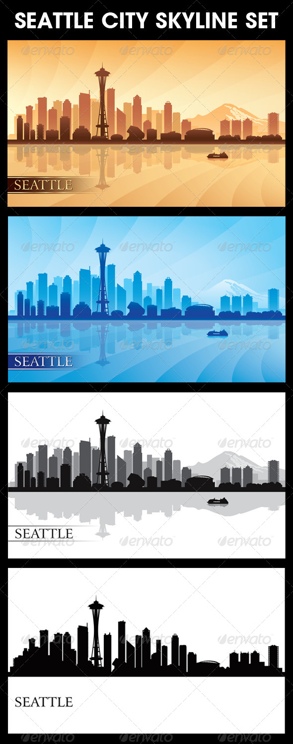 Seattle City Skyline Silhouettes Set - Backgrounds Decorative