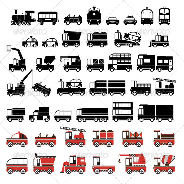 Silhouettes of Cars, Taxis and Trucks - Services Commercial / Shopping