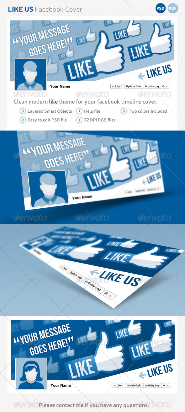 Like Us Facebook Cover Template - Facebook Timeline Covers Social Media