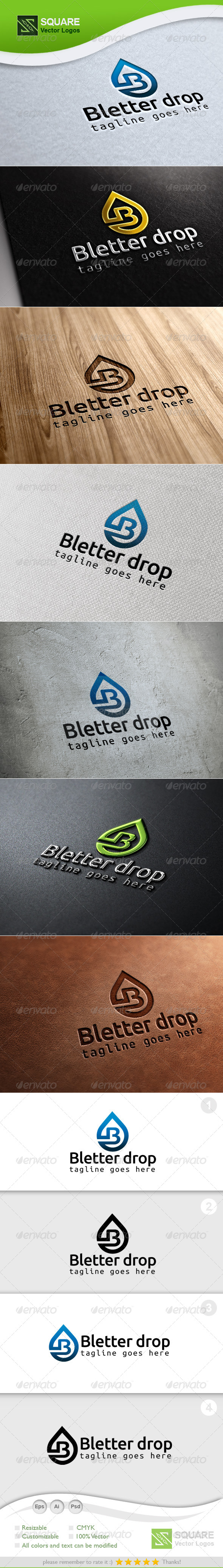 B , Drop Vector Logo Template - Letters Logo Templates