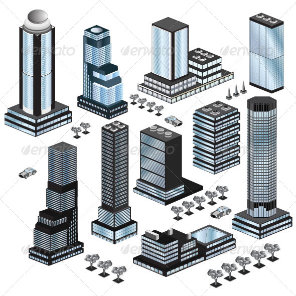 Set of Skyscrapers and City Buildings - Buildings Objects