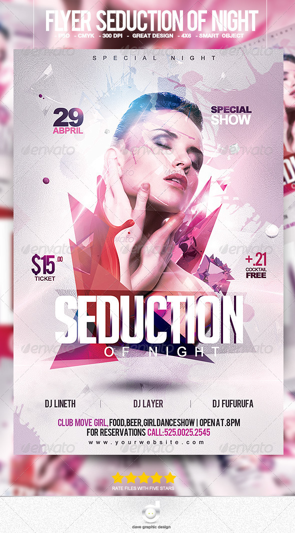 Flyer Seduction of Night - Clubs & Parties Events