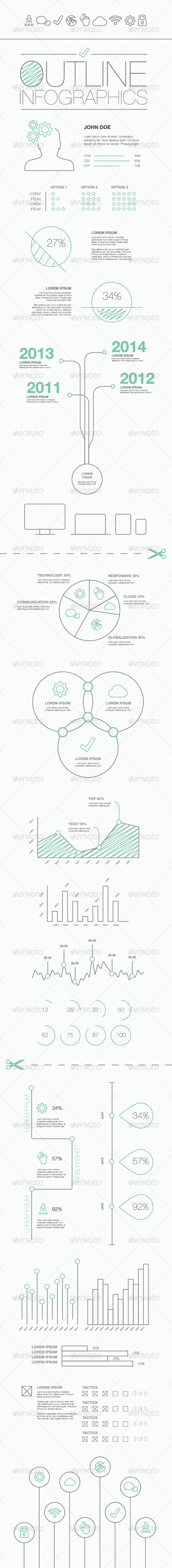 Outline Infographics Vector Illustration - Infographics