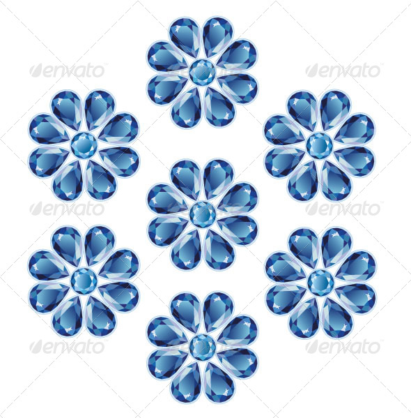 Blue Flowers of Sapphires - Objects Vectors
