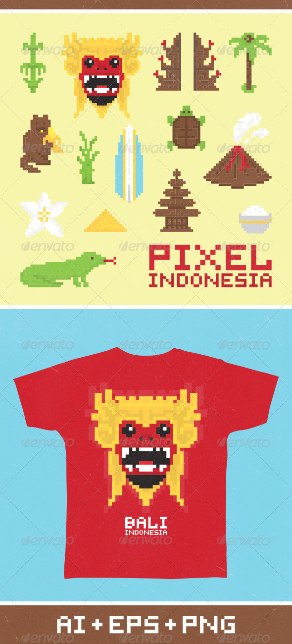 Pixel Art Indonesia - Miscellaneous Vectors