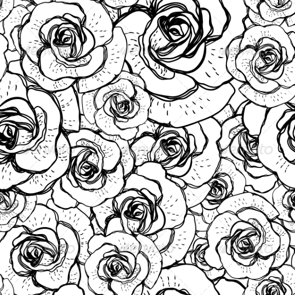 Seamless Black and White Background with Roses - Patterns Decorative
