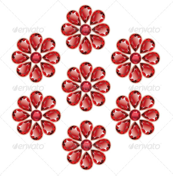 Red Flowers of Rubies - Objects Vectors