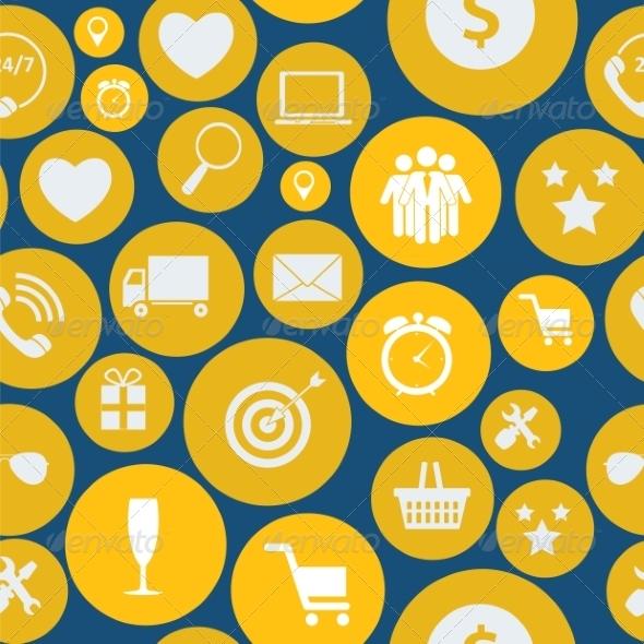 Flat Business Infographic Seamless Pattern - Web Technology