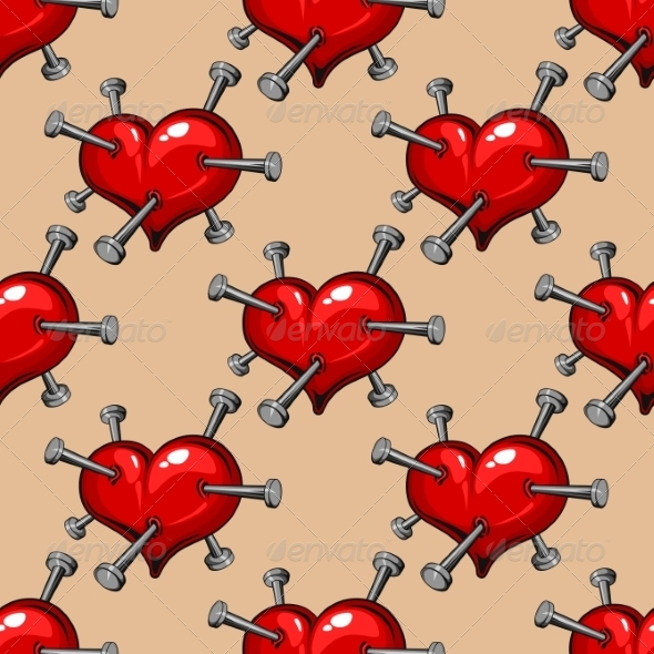 Seamless Pattern of Hearts Studded with Nails - Patterns Decorative