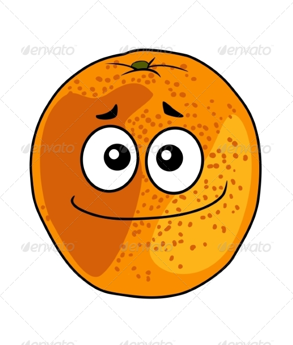 Juicy Ripe Cartoon Orange with a Cheeky Grin - Food Objects