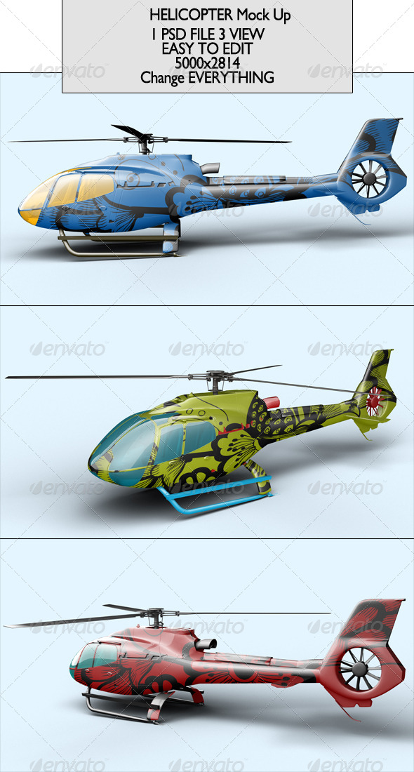 Helicopter Mock Up - Product Mock-Ups Graphics