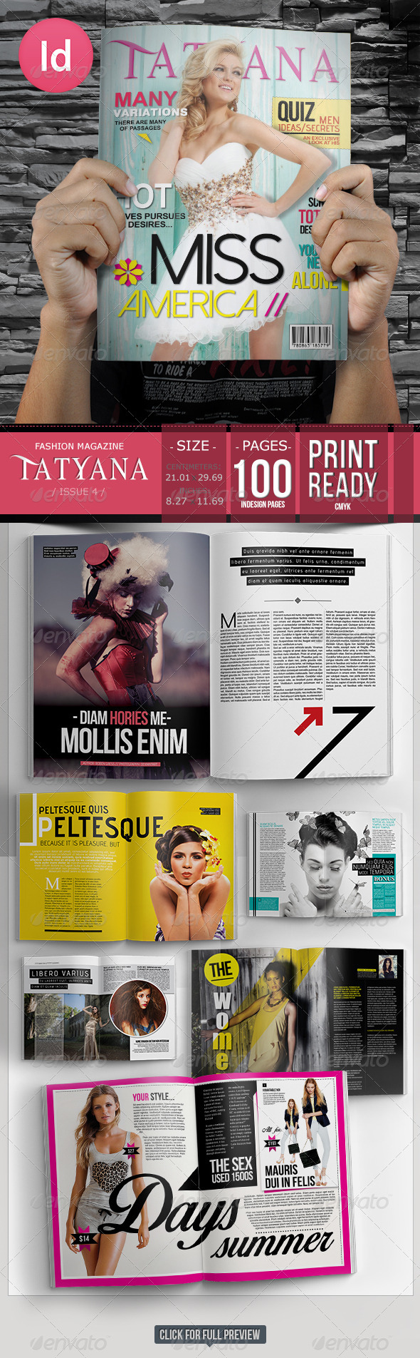 100 Pages Fashion Magazine Issue 4 - Magazines Print Templates