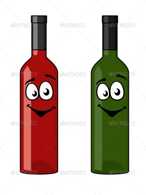 Two Bottles of Wine - Food Objects