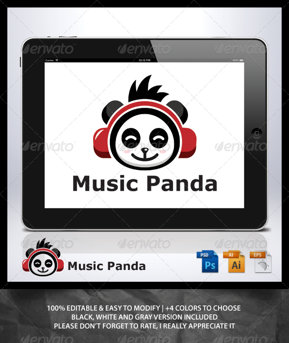 Music Panda Logo - Animals Logo Templates
