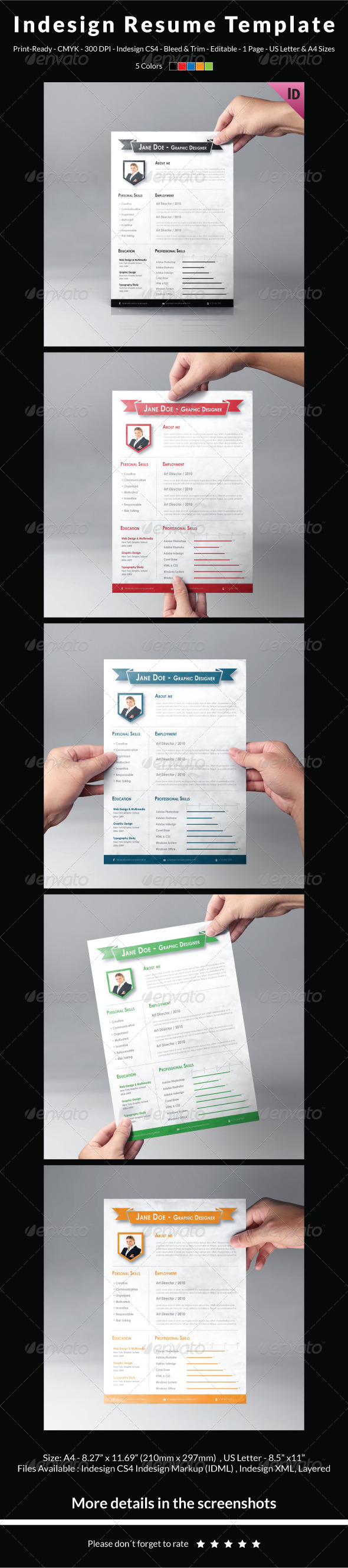 Indesign Resume Template By CarlosFernando  Graphicriver