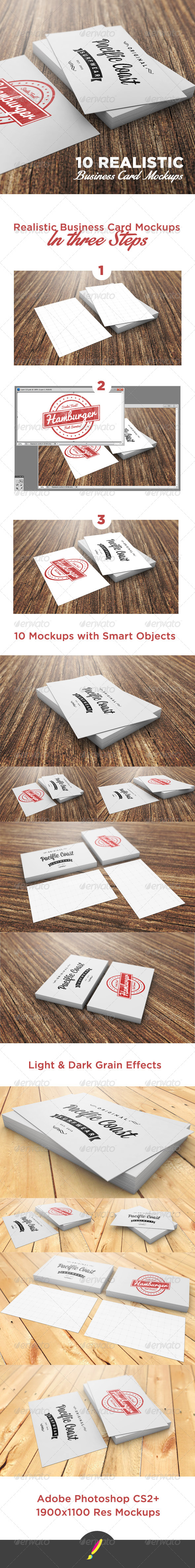 10 Photorealistic Business Card Mockups - Business Cards Print