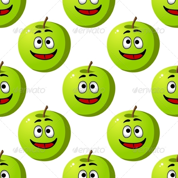 Happy Apple Seamless Pattern - Patterns Decorative
