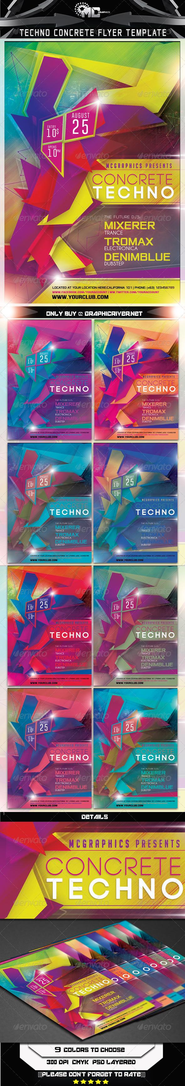 Techno Concrete Flyer Template - Clubs & Parties Events