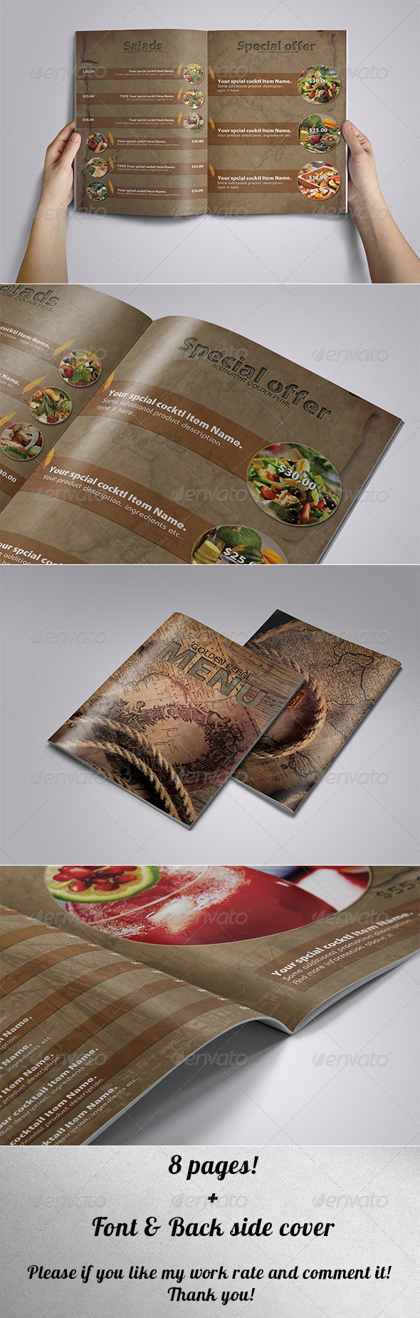 Restaurant Menu - Ancient Style - Food Menus Print Templates