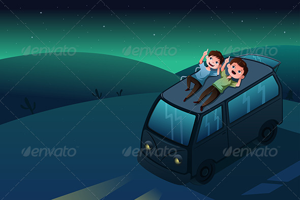 Father and Son Looking at the Stars at Night - People Characters