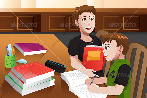 Father Helping his Son doing Homework - People Characters