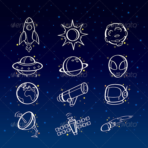 Astronomy Icons - Technology Conceptual