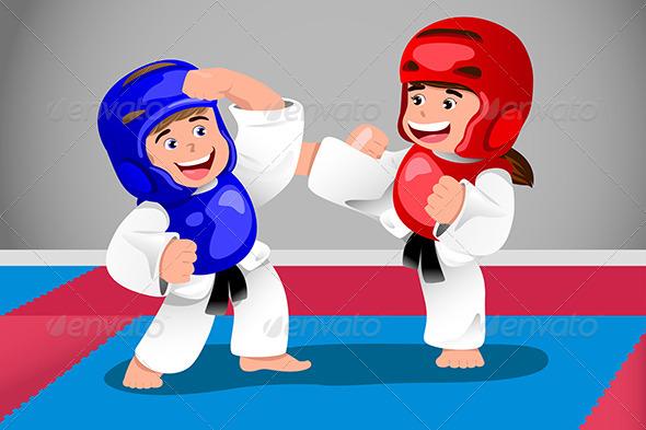 Kids Practicing Taekwondo - Sports/Activity Conceptual