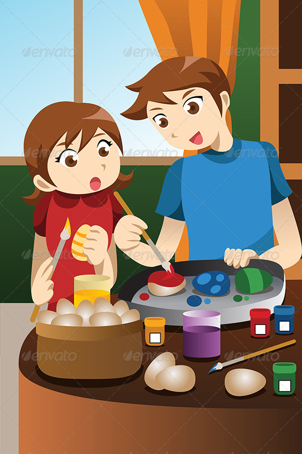 Kids Painting Easter Eggs - People Characters